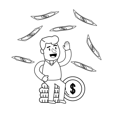 Consumer banking operations happy jovial smiling waving hello coin stack client raining money black and white vector illustration graphic design Ilustração