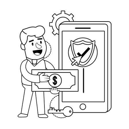 Digital banking services online tools currency deposit electronic transaction smartphone password security black and white vector illustration graphic design Ilustração