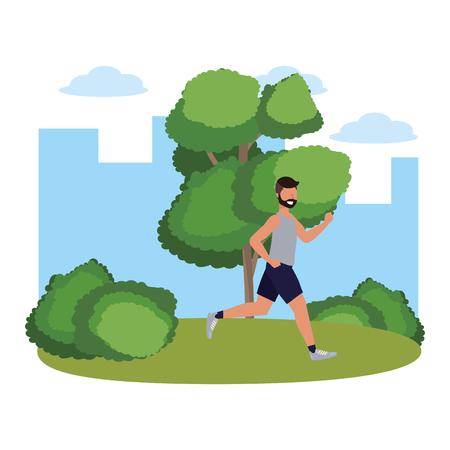 Fitness deporte tren hombre corriendo escena al aire libre dibujos animados ilustración vectorial diseño gráfico Ilustración de vector