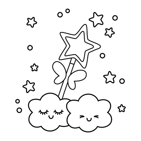 wand with clouds icon cartoon black and white vector illustration graphic design