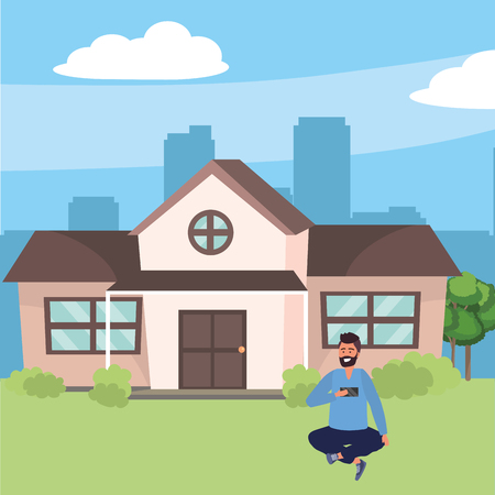Millenial in house front porch background Illustration