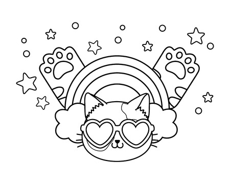cat with heart sunglasses rainbow and paws icon cartoon black and white vector illustration graphic design Illustration