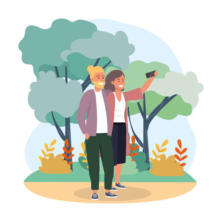 woman and man couple with smartphone and plants vector illustration
