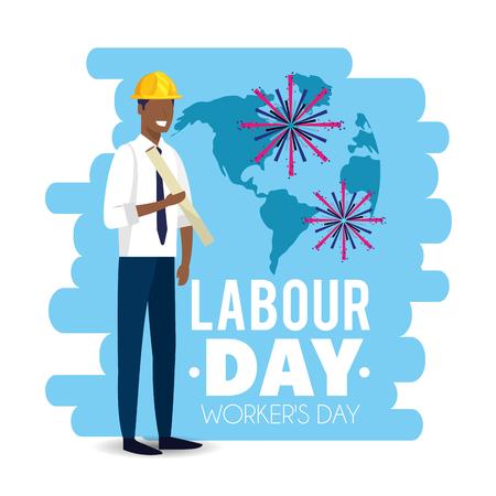 elegant man builder to labour day vector illustration