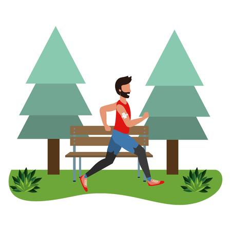 Fitness deporte tren hombre corriendo escena al aire libre dibujos animados ilustración vectorial diseño gráfico