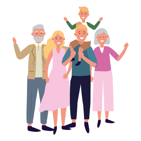 family avatar cartoon character vector illustration graphic design Çizim