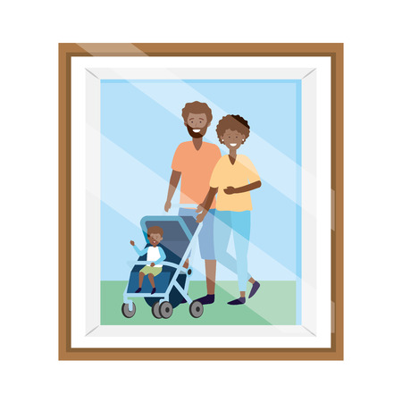 couple with baby carriage avatar cartoon character photo frame vector illustration graphic design