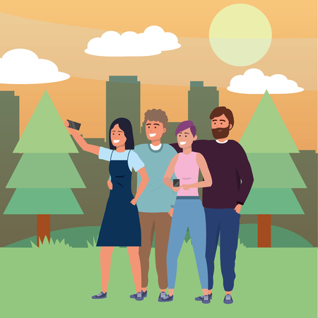 Millennial group using smartphone taking selfie dress dyed hair beard nature trail trees bushes cityscape background vector illustration graphic design