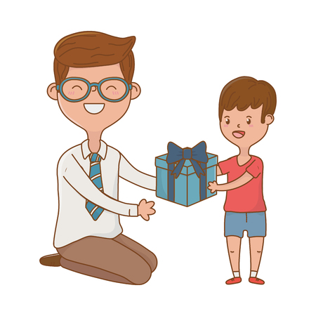 man and child with gift avatar cartoon character glasses vector illustration graphic design
