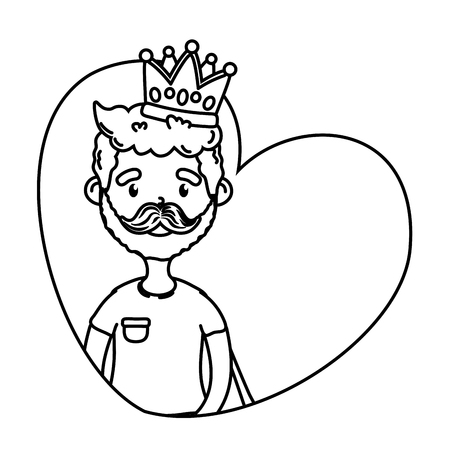 man with crown icon cartoon beard black and white vector illustration graphic design