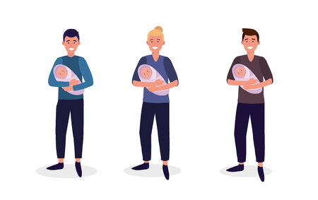 set men mother with their babies son vector illustration