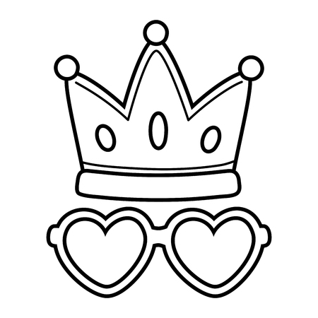 crown and heart sunglasses icon cartoon black and white vector illustration graphic design
