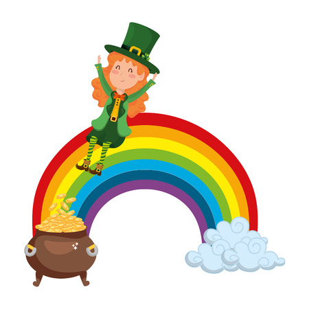 st patricks day elf and rainbow cartoon vector illustration graphic design