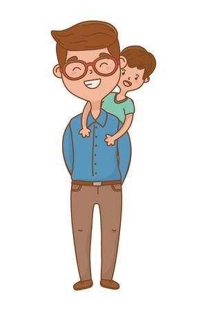 man carrying child avatar cartoon character glasses vector illustration graphic design Çizim