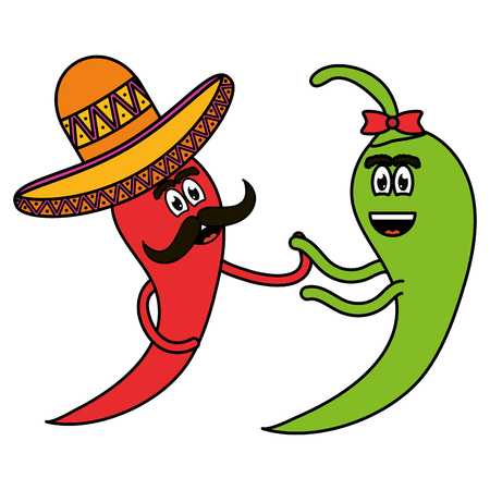 chilli peppers with mexican hat comic characters vector illustration design
