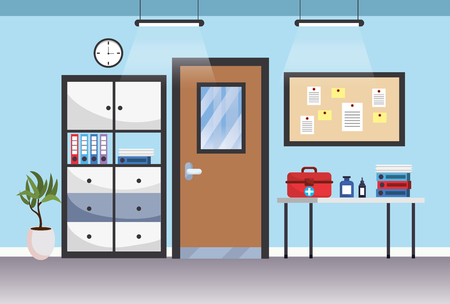 modern furniture scene hospital doctors office cartoon vector illustration graphic design Stok Fotoğraf - 122827483