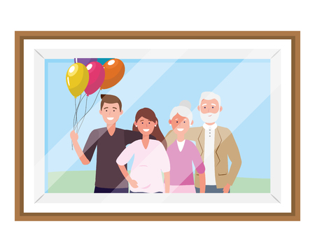 family avatar cartoon character portrait with balloons photo frame vector illustration graphic design Çizim
