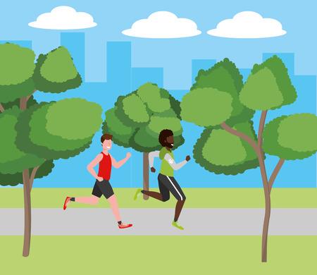 fitness sport train men running at outdoor scene cartoon vector illustration graphic design Ilustração