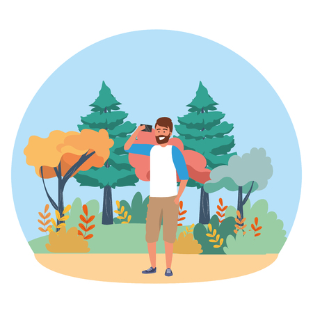 Millenial person stylish outfit using smartphone texting conversation bearded nature background round frame trees bushes vector illustration graphic design 矢量图像