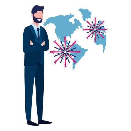 labor day job career business executive man with fireworks cartoon vector illustration graphic design