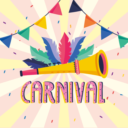 feathers with trumpet and party banner to carnival vector illustration