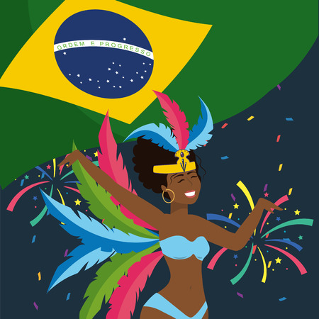 cute girl dancer with feathers and brazil flag vector illustration Banque d'images - 122829407