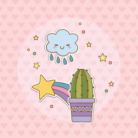 cactus sticker kawaii style vector illustration design Stockfoto - 122829475