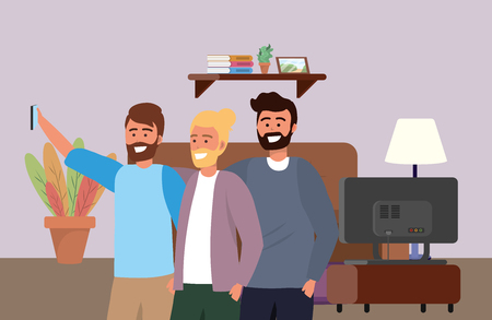 Millennial group smartphone taking selfie living room television and couch bearded blond background vector illustration graphic design