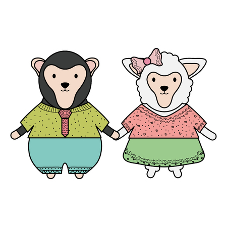 cute female sheep with monkey vector illustration design