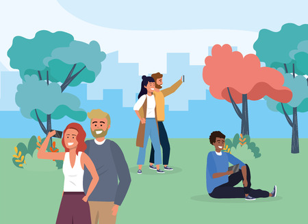 women and men in the park with smartphone communication vector illustration