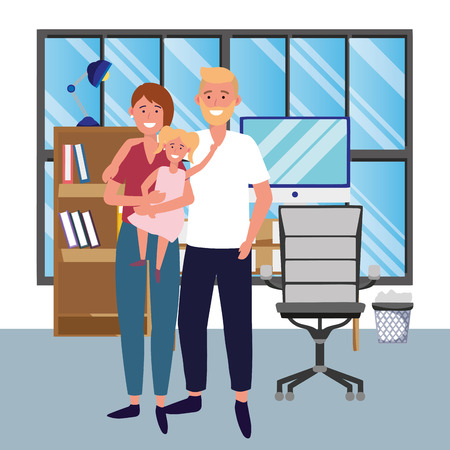 couple with child avatar cartoon character indoor studio office vector illustration graphic design Çizim