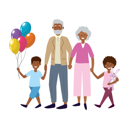 elderly couple with children avatar cartoon character with bunny and balloons vector illustration graphic design Çizim