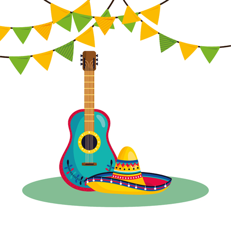 mexican culture festival guitar instrument with mariachi hat cartoon vector illustration graphic design Ilustracja