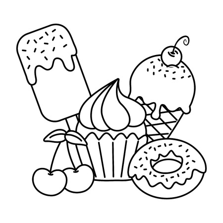 sweet desserts ice cream ice lolly donut muffin cherry icon cartoon black and white vector illustration graphic design