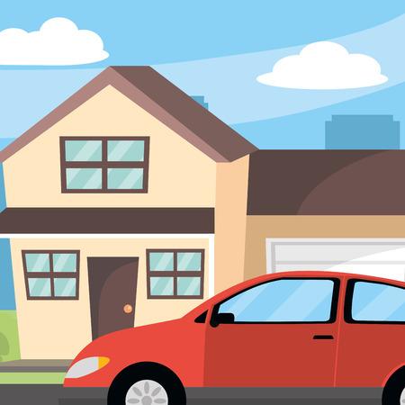 transportation concept car in front house cartoon vector illustration graphic design