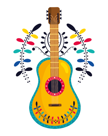 mexican culture mexico guitar instrument cartoon vector illustration graphic design Ilustracja