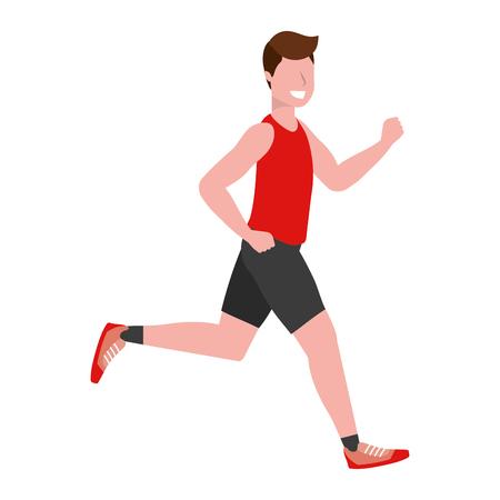fitness sport treno uomo in esecuzione fumetto illustrazione vettoriale graphic design Vettoriali