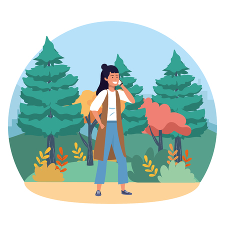 Millenial person stylish outfit using smartphone call conversation vest nature background round frame trees bushes vector illustration graphic design 向量圖像