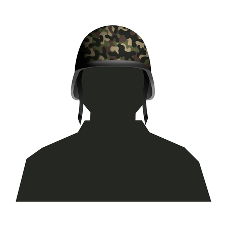 soldier silhouette and helmet icon isolated vector illustration graphic design