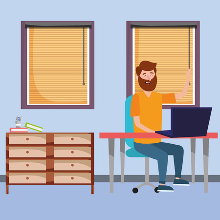 online education man using laptop device cartoon vector illustration graphic design Stok Fotoğraf - 122829805