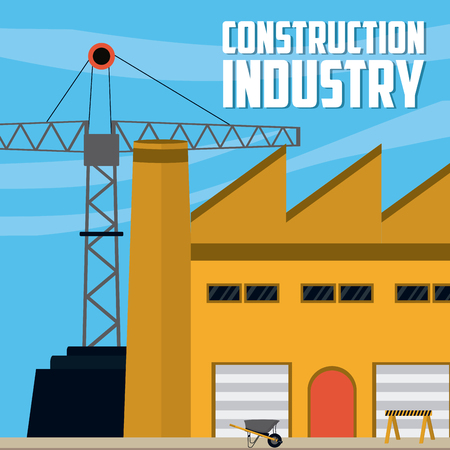 Construction industry with factory and crane vector illustration graphic design