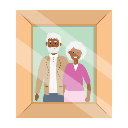elderly couple avatar cartoon character photo frame vector illustration graphic design Stock Illustratie