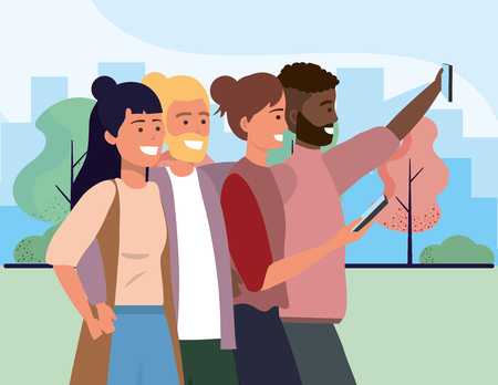 Millenial diverse group taking selfie smiling happy together wearing sweaters bearded and vest outdoors cityscape nature background vector illustration graphic design Stockfoto - 122829854