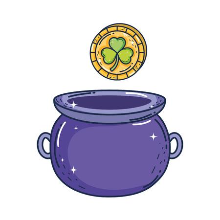 treasure cauldron with clovers coins saint patrick day vector illustration design