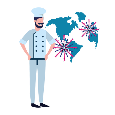 labor day job career gastronomy food chef with fireworks cartoon vector illustration graphic design