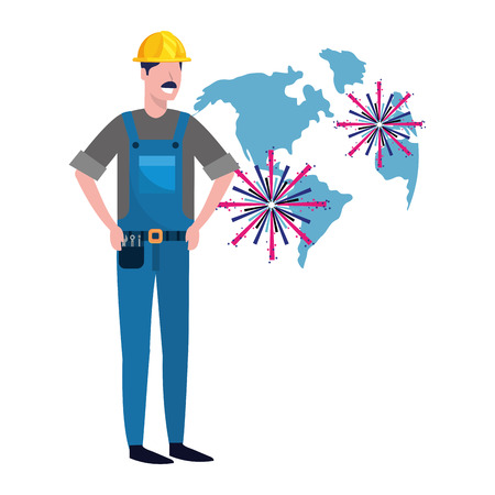 labor day job career construction architectural worker man with fireworks cartoon vector illustration graphic design Çizim