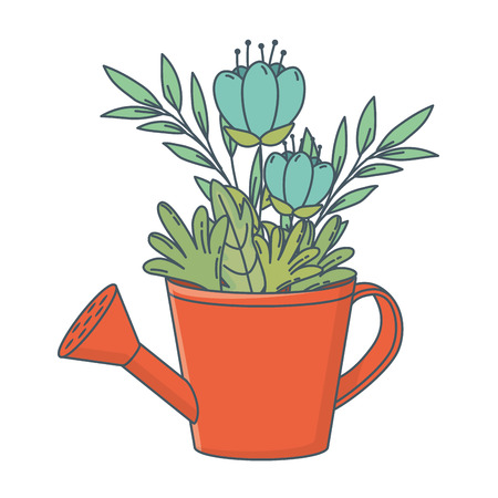 floral nature flowers inside watering can cartoon vector illustration graphic design