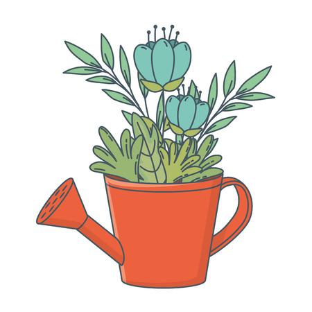 natura floreale fiori all'interno dell'annaffiatoio fumetto illustrazione vettoriale graphic design