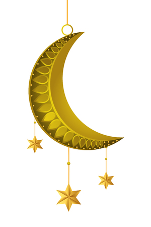 abnehmender Mond mit hängenden Sternen Symbol Cartoon Vektor Illustration Grafikdesign