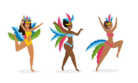 set girls dancers with cute costume and feathers Banque d'images - 121801162